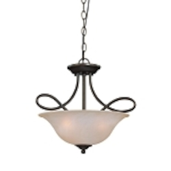 "Cordova Collection 3-Light 17"" Old Bronze Convertible Pendant with Faux Alabaster Glass Shade 25033-OB"