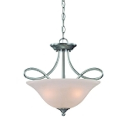 "Cordova Collection 3-Light 17"" Satin Nickel Convertible Pendant with Faux Alabaster Glass Shade 25033-SN"