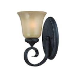 "Stanton Collection 1-Light 10"" English Toffee Wall Sconce with Painted Frosted Glass Shade 25101-ET"