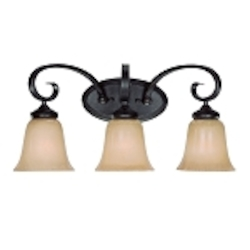 "Stanton Collection 3-Light 22"" English Toffee Bath Vanity Fixture with Painted Frosted Glass Shade 25103-ET"
