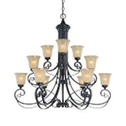 "Stanton Collection 12-Light 42"" English Toffee Chandelier with Painted Frosted Glass Shade 25112-ET"