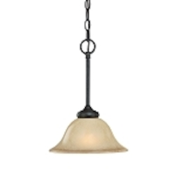 "Stanton Collection 1-Light 14"" English Toffee Mini Pendant with Painted Frosted Glass Shade 25121-ET"
