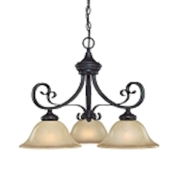 "Stanton Collection 3-Light 23"" English Toffee Mini Chandelier with Painted Frosted Glass Shade 25123-ET"