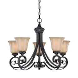 "Stanton Collection 5-Light 27"" English Toffee Chandelier with Painted Frosted Glass Shade 25125-ET"