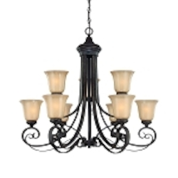 "Stanton Collection 9-Light 34"" English Toffee Chandelier with Painted Frosted Glass Shade 25129-ET"