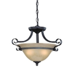 "Stanton Collection 2-Light 16"" English Toffee Convertible Pendant with Painted Frosted Glass Shade 25133-ET"