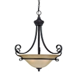 "Stanton Collection 3-Light 24"" English Toffee Pendant with Painted Frosted Glass Shade 25143-ET"