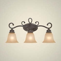 "Highland Place Collection 3-Light 26"" Mocha Bronze Bath Vanity Fixture with Painted Etched Glass Shade 25203-MB"
