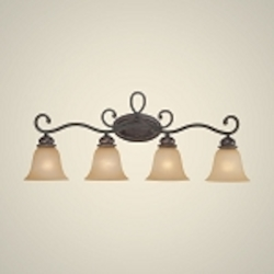 "Highland Place Collection 4-Light 35"" Mocha Bronze Bath Vanity Fixture with Painted Etched Glass Shade 25204-MB"