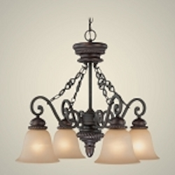 "Highland Place Collection 4-Light 25"" Mocha Bronze Down Chandelier with Painted Etched Glass Shade 25224-MB"