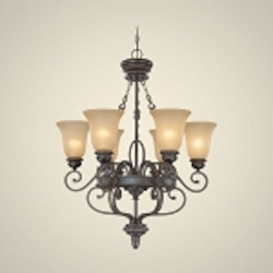 "Highland Place Collection 6-Light 35"" Mocha Bronze Chandelier with Painted Etched Glass Shade 25226-MB"