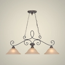 "Highland Place Collection 3-Light 46"" Mocha Bronze Island Light with Painted Etched Glass Shade 25233-MB"