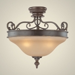 "Highland Place Collection 3-Light 20"" Mocha Bronze Convertible Semi-Flushwith Painted Etched Glass Shade 25243-MB"