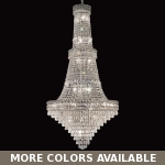 "Invisible Design 34-Light 56"" Chrome or Gold Foyer Chandelierwith European or Swarovski Crystals SKU# 10362"