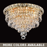 "Invisible Design 4-Light 12"" Chrome or Gold Ceiling Flush Mount with European or Swarovski Crystals SKU# 10364"