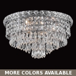 "Invisible Design 4-Light 14"" Chrome or Gold Ceiling Flush Mount with European or Swarovski Crystals SKU# 10365"