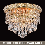 "Invisible Design 2-Light 8"" Chrome or Gold Ceiling Flush Mount with European or Swarovski Crystals SKU# 10373"