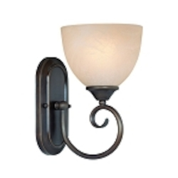 "Raleigh Collection 1-Light 10"" Old Bronze Wall Sconce with Faux Alabaster Glass Shade 25301-OB"