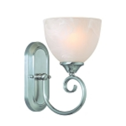 "Raleigh Collection 1-Light 10"" Satin Nickel Wall Sconce with Faux Alabaster Glass Shade 25301-SN"