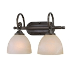 "Raleigh Collection 2-Light 15"" Old Bronze Wall Sconce with Faux Alabaster Glass Shade 25302-OB"