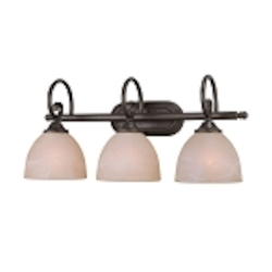 "Raleigh Collection 3-Light 23"" Old Bronze Bath Vanity Fixture with Faux Alabaster Glass Shade 25303-OB"