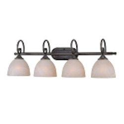 "Raleigh Collection 4-Light 31"" Old Bronze Bath Vanity Fixture with Faux Alabaster Glass Shade 25304-OB"