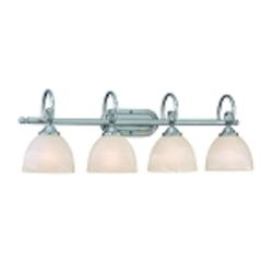 "Raleigh Collection 4-Light 31"" Satin Nickel Bath Vanity Fixture with Faux Alabaster Glass Shade 25304-SN"