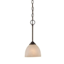 "Raleigh Collection 1-Light 14"" Old Bronze Mini Pendant with Faux Alabaster Glass Shade 25321-OB"