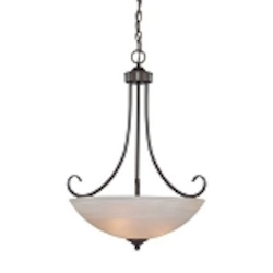 "Raleigh Collection 3-Light 27"" Old Bronze Pendant with Faux Alabaster Glass Shade 25323-OB"