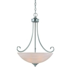 "Raleigh Collection 3-Light 27"" Satin Nickel Pendant with Faux Alabaster Glass Shade 25323-SN"