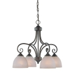 "Raleigh Collection 4-Light 22"" Old Bronze Down Chandelier with Faux Alabaster Glass Shade 25324-OB"