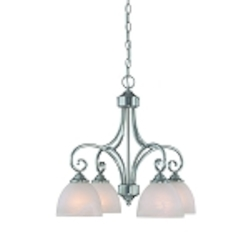 "Raleigh Collection 4-Light 22"" Satin Nickel Down Chandelier with Faux Alabaster Glass Shade 25324-SN"