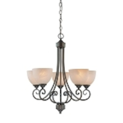 "Raleigh Collection 5-Light 26"" Old Bronze Chandelier with Faux Alabaster Glass Shade 25325-OB"