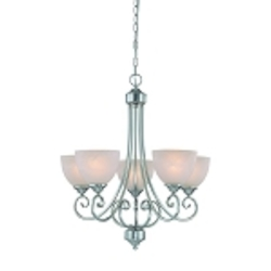 "Raleigh Collection 5-Light 26"" Satin Nickel Chandelier with Faux Alabaster Glass Shade 25325-SN"