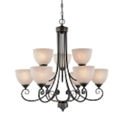 "Raleigh Collection 9-Light 31"" Old Bronze Chandelier with Faux Alabaster Glass Shade 25329-OB"