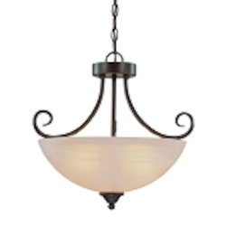 "Raleigh Collection 3-Light 18"" Old Bronze Convertible Pendant with Faux Alabaster Glass Shade 25333-OB"