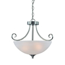 "Raleigh Collection 3-Light 18"" Satin Nickel Convertible Pendant with Faux Alabaster Glass Shade 25333-SN"