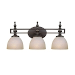 "Seymour Collection 3-Light 24"" Old Bronze Bath Vanity Fixture with Painted Alabaster Glass Shade 25403-OB"