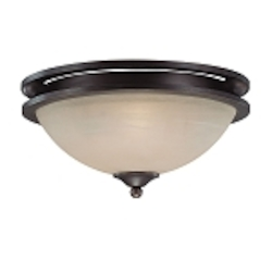 "Seymour Collection 2-Light 15"" Old Bronze Flush Mount with Painted Alabaster Glass Shade 25422-OB"