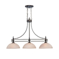 "Seymour Collection 3-Light 43"" Old Bronze Island Light with Painted Alabaster Glass Shade 25423-OB"