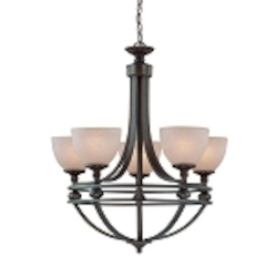 "Seymour Collection 5-Light 29"" Old Bronze Chandelier with Painted Alabaster Glass Shade 25425-OB"