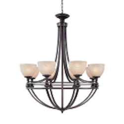 "Seymour Collection 8-Light 40"" Old Bronze Chandelier with Painted Alabaster Glass Shade 25428-OB"