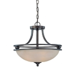 "Seymour Collection 3-Light 17"" Old Bronze Convertible Pendant with Painted Alabaster Glass Shade 25433-OB"