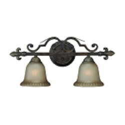 "Devereaux Collection 2-Light 23"" Burleson Bronze Wall Sconce with Clear Painted Etched Glass Shade 25702-BBZ"