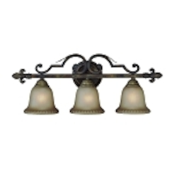 "Devereaux Collection 3-Light 28"" Burleson Bronze Bath Vanity Fixture with Clear Painted Etched Glass Shade 25703-BBZ"
