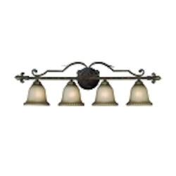 "Devereaux Collection 4-Light 36"" Burleson Bronze Bath Vanity Fixture with Clear Painted Etched Glass Shade 25704-BBZ"