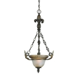 "Devereaux Collection 1-Light 29"" Burleson Bronze Pendant with Clear Painted Etched Glass Shade 25721-BBZ"