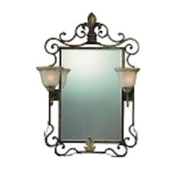 "Devereaux Collection 37"" Burleson Bronze Mirror with Two Lights 25722-BBZ"