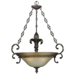 "Devereaux Collection 3-Light 33"" Burleson Bronze Pendant with Clear Painted Etched Glass Shade 25723-BBZ"