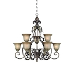 "Devereaux Collection 9-Light 36"" Burleson Bronze Chandelier with Clear Painted Etched Glass Shade 25729-BBZ"